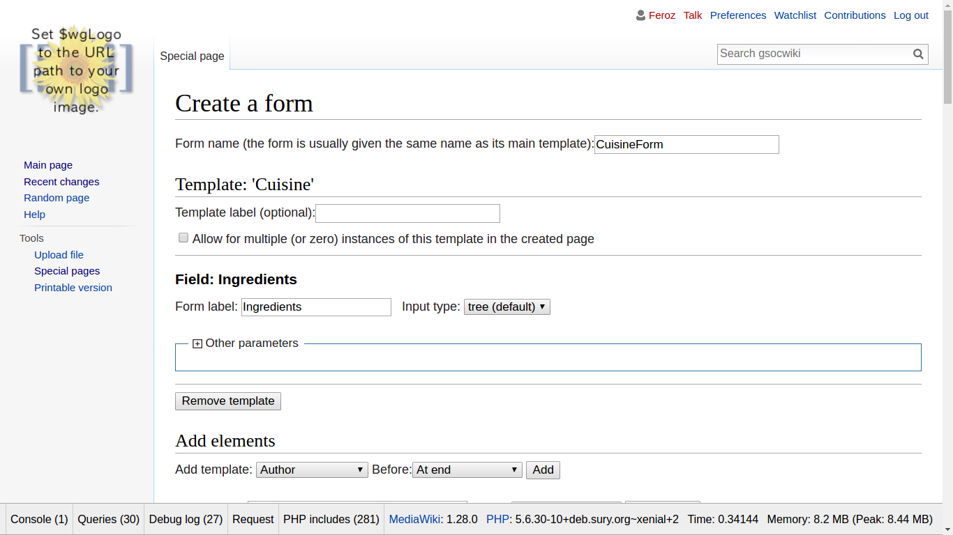 Creating a form (Page Form automatically detects tree as default type for hierarchy)